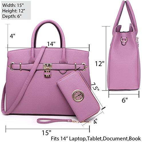 Handle Satchel Laptop Briefcase Top Designer Purple F1006 2pcs Without Purse Handbags Bag Tote Leather Women's Dasein Bag Faux Shoulder Key Padlock EAtqwOC