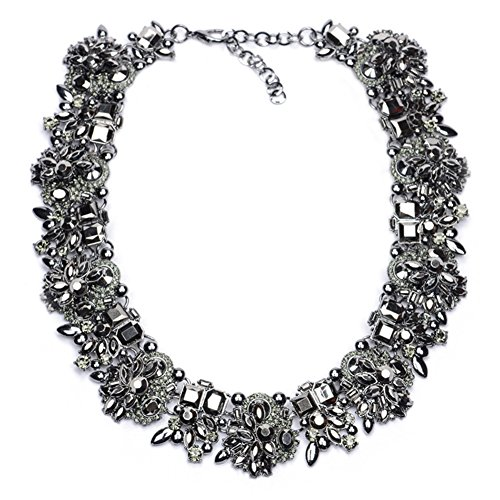 Costume Jewelry Bib Necklace with Black Glass Beads for Women Jewelry Fashion Necklace 1 PC with Gift Box-NC01 (Coating Costumes Jewelry)