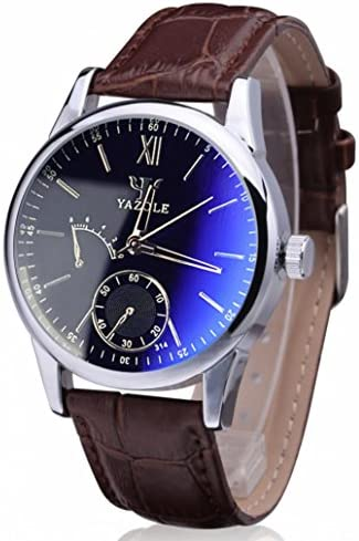 Wristwatch,Han Shi Mens Luxury Fashion Faux Leather Blue Ray Glass Quartz Analog Watches