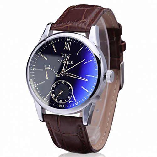 Wristwatch,Han Shi Mens Luxury Fashion Faux Leather Blue Ray Glass Quartz Analog Watches (A, - Prices Vogue Glasses