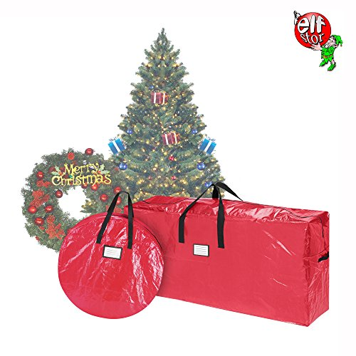 Elf Stor Storage | Combo | Christmas Tree Storage Bag & 30 Inch Wreath Bag | Red (Xmas Wreaths)
