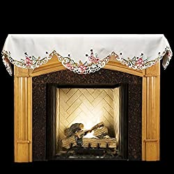 "Embroidered Fireplace Mantel Scarf with Ladybugs 19"" x 90"" by Linens, Art and Things"