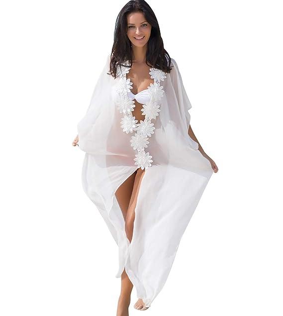 759be7dc9901 Vestido Playa Largos Gasa Mujer Vestidos Pareos Playeros Cuello V ...