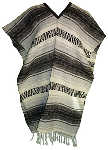 Mexican Poncho Blanket Material by QueBaja - Gray (Mexican Ladies Costume)