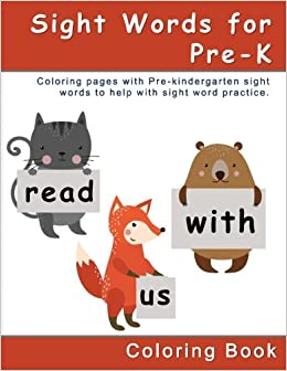 Amazon Sight Words For Pre K Coloring Book Pages With To Help Kids Word Practice Educational