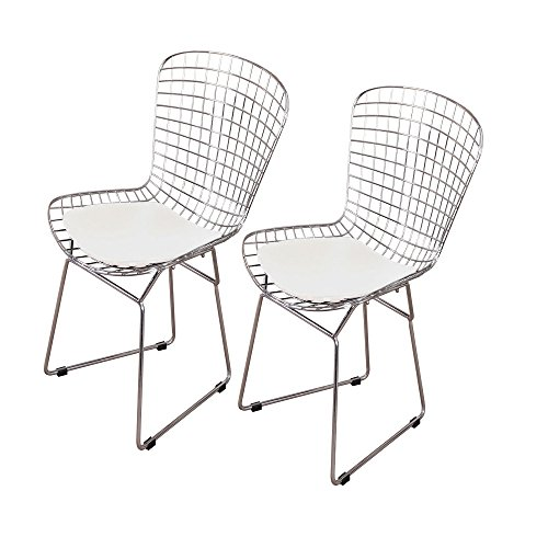 - MLF Harry Bertoia Wire Side Chair (Set of 2). Chromed Wire Frame with Plastic Feet & PU Leather Cushion. (White/Cream)