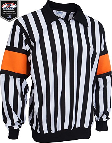 Force Pro Referee Jersey w/ Orange Armbands [MENS] (Pro Jersey Hockey Referee)