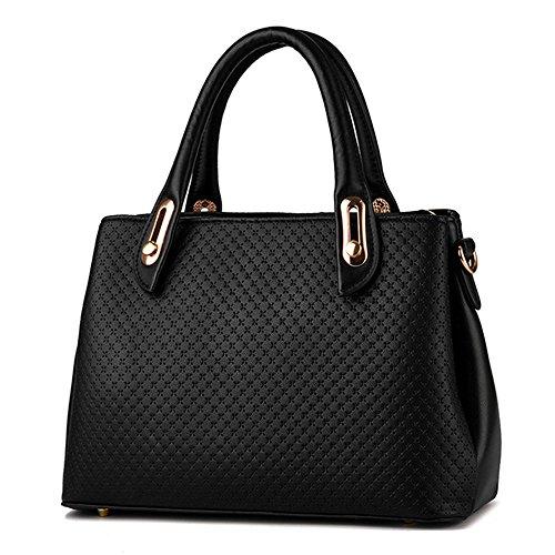 Wewod bolsa de hombro mujer/bolso bandolera shopping/bandolera mensajero cuero/Carteras de mano con asa 31 x 21 x 12 cm (L*H*W) Negro