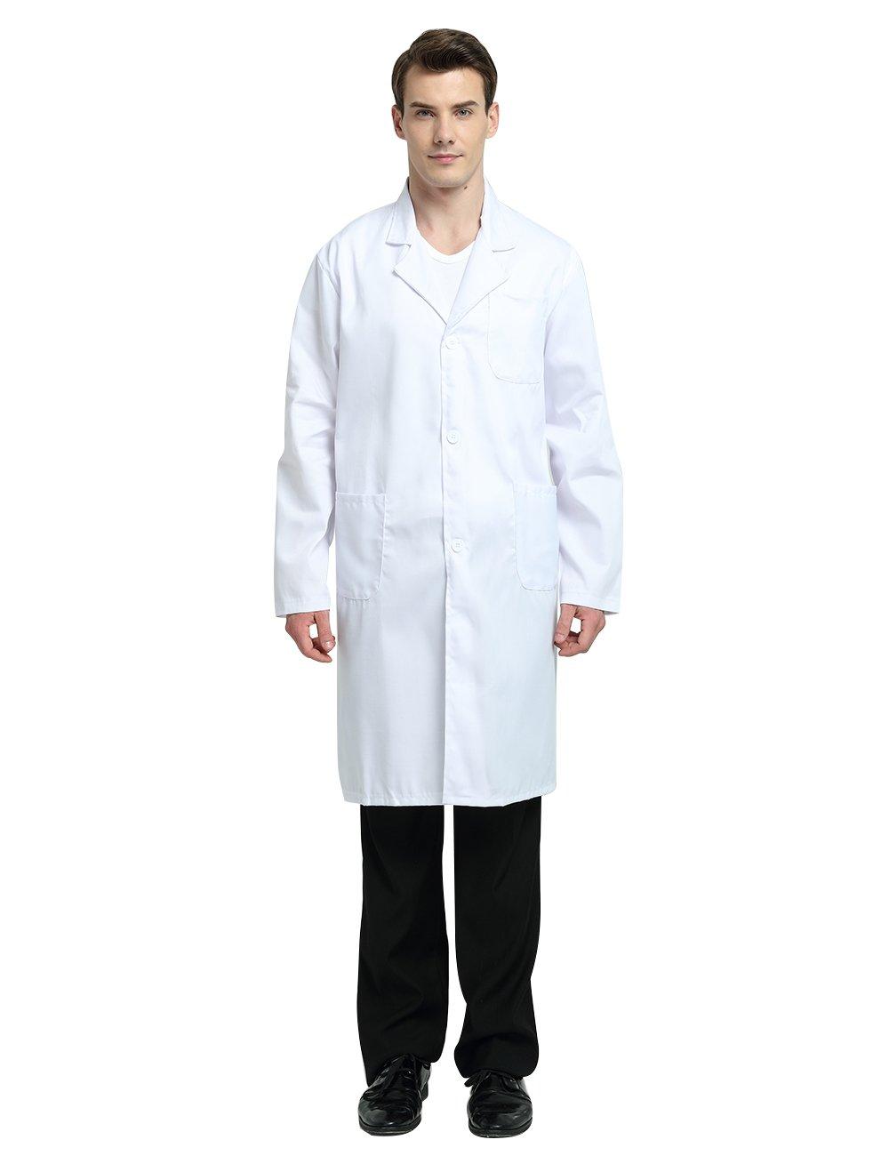 TopTie Everyday Scrubs Unisex Lab Coat-White-US S