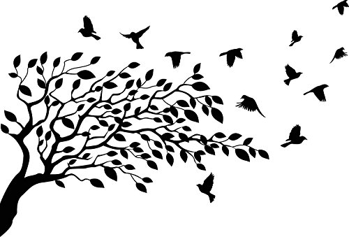 Flock of Birds Flying Resting On Tree Branches with leaves and flowers Vinyl Wall Decal Sticker Decor (Large) (Bird Resting)