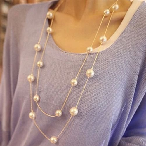 Alicenter(TM) Women Ladies Multilayers Simulation-Pearls Long Chain Sweater Necklace Gift L (Necklace Chain Pearl Long)
