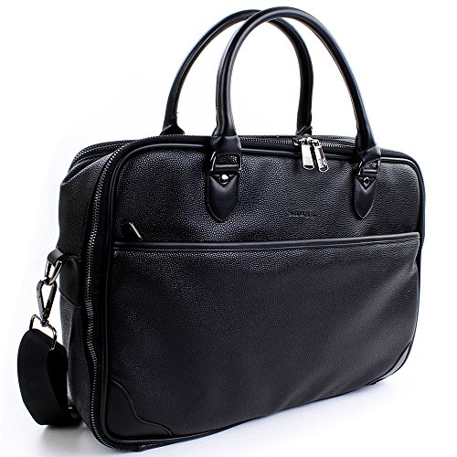Laptop Briefcase Black Leather Snugg8482