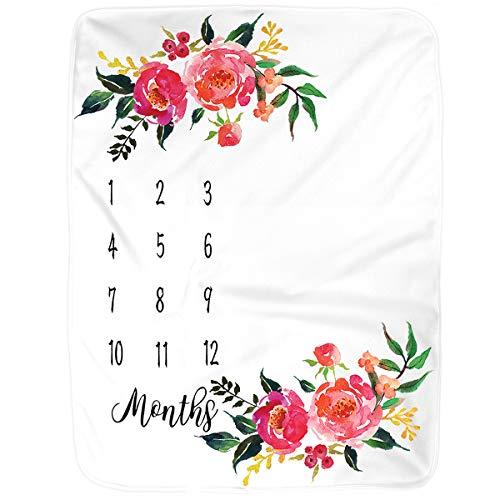 Milestone Blanket, Large Baby Blankets for Girls Newborn Photography Props Baby Girl Gifts Reuseable Premium Fleece Baby Monthly Milestone Blanket Shower Gifts (Flora 1)