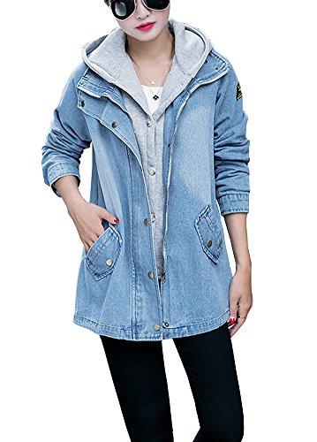 (Women's Fashion Slim Fit Hooded Cotton Jeans Denim Jacket Trucker mit Vest)