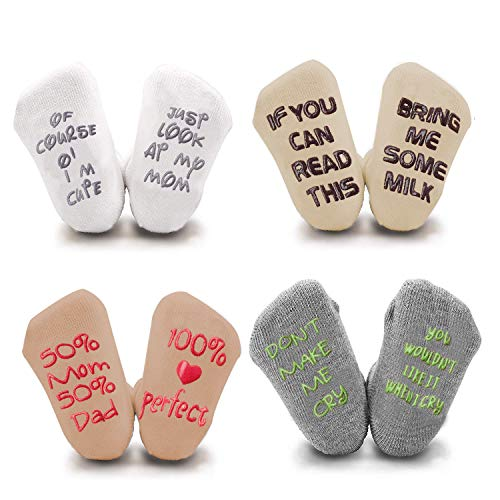 Unique Baby Socks Gift Set -Newborn Present or Baby Shower Gift -4 Pairs Unisex Anti-skid Quote Cute Socks 0-12 Months (0-12 Months)
