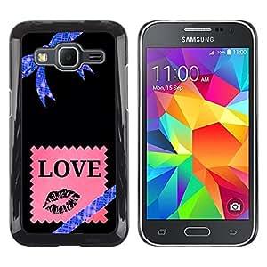 Caucho caso de Shell duro de la cubierta de accesorios de protección BY RAYDREAMMM - Samsung Galaxy Core Prime SM-G360 - Stars Universe Bow Pink Love