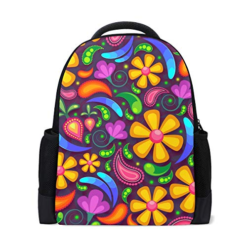 Thomas Eugene Twill Fabric Large Capacity Halloween Spiders Pumpkin Color Backpack for School Work Travel ()