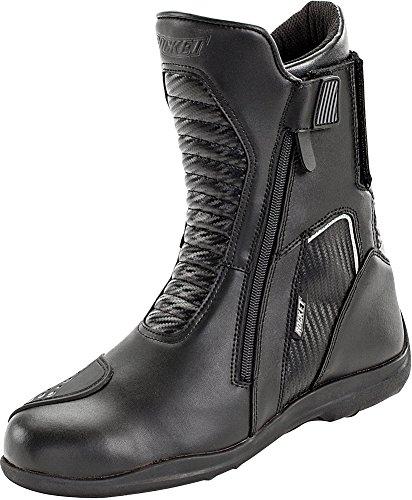 Joe Rocket Nova - Mens' Leather Motorcycle Boot - Black/Carbon - US Size: 10