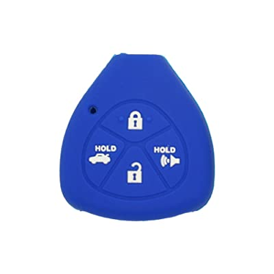 SEGADEN Silicone Cover Protector Case Skin Jacket fit for TOYOTA 4 Button Remote Key Fob CV2416 Deep Blue: Automotive