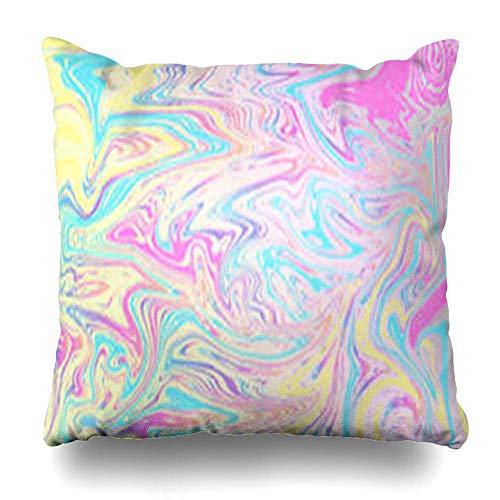(JUND Throw Pillow Covers Holographic Watercolor Hologram Hipster Marble Petrol Pattern Sale Rainbow Cosmic Elegance Zippered Pillowcases Square Size 18