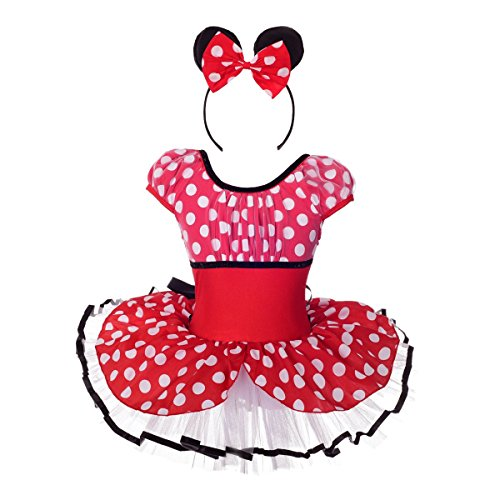 Lito Angels Girls' Minnie Mouse Dress Up Costume Outfit Fancy Party Dress Dancewear w/Headband Size 2T -
