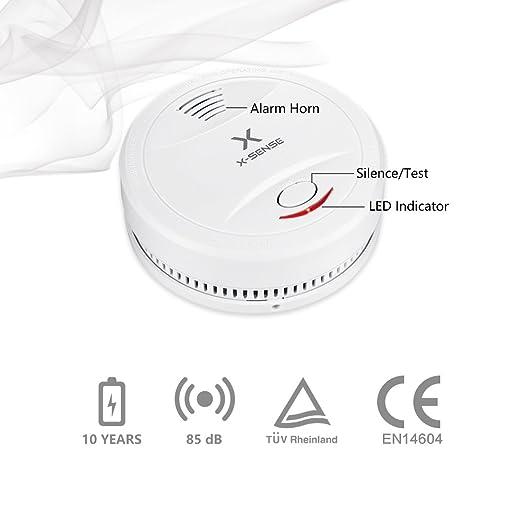 X-Sense SD12 Detector de Humo con Batería de 10 Años de Duración y Sensor Fotoeléctrico Normas EN14604: Amazon.es: Bricolaje y herramientas