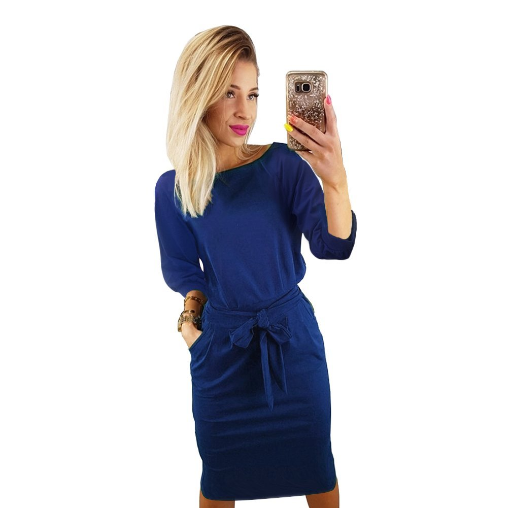 TALLA S(ES 36). Longwu Vestido de Manga Corta Elegante de Las Mujeres para Trabajar el Vestido Ocasional del lápiz con la Correa Azul(manga de Soplo) S(ES 36)
