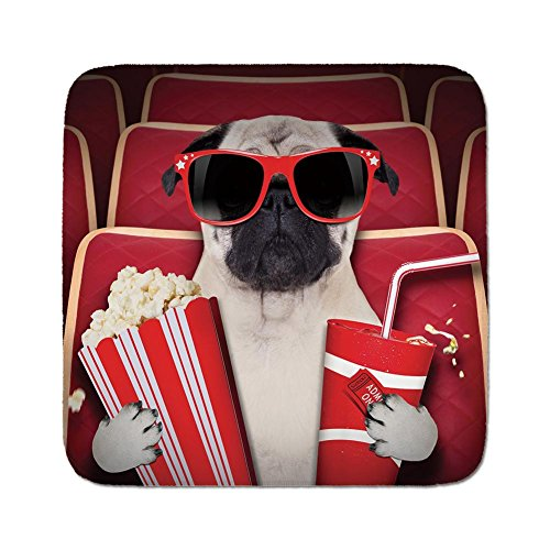 Cozy Seat Protector Pads Cushion Area Rug,Pug,Funny Dog Watching Movie Popcorn Soft Drink and Glasses Animal Photograph Print,Red Cream Ruby,Easy to Use on Any Surface