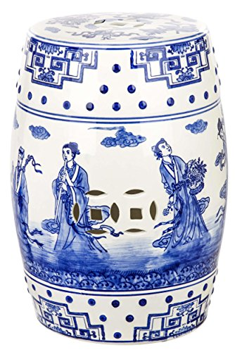 Safavieh Castle Gardens Collection Glazed Ceramic Blue Ocean Jewel Chinoiserie Garden Stool (And White Garden Blue)