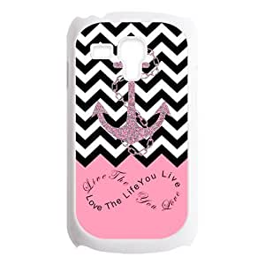 Love The Life You live, Live The Life You Love.Infinity Symbol Black Chevron Zigzags & Pink Anchor Pattern Personalized Custom Best Plastic Case for Samsung Galaxy s3 MINI ,Black or White for Choice