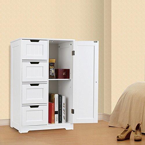 Amazon.com: HOMFA Bathroom Floor Cabinet, Wooden Free Standing Storage  Cabinet Side Organizer Unit With 4 Drawer And 1 Cupboard, White: Home U0026  Kitchen