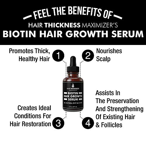 Biotin Hair Growth Serum by Hair Thickness Maximizer. DHT Blocker Oil For Hair Loss, Dry, Damaged, Hair. Natural Thickening and Smoothing of Hair and Nourishing of Scalp for Women and Men (2oz) 4