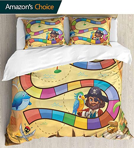 Kids Activity 3 PCS King Size Comforter Set,Treasure Hunt in the Adventure of the Pirate Cove Cartoon Drawing Style Decorative 3 Piece Bedding Set with 2 Pillow Sham 79