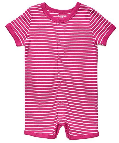 Short Sleeve Snap Up Romper 100% Cotton (6-12 Months, Magenta & White)