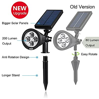 AMIR 2 in 1 Solar Spotlights, Upgraded Solar Garden Light Outdoor, Waterproof 4 LED Landscape Lighting, Solar Wall Light with Auto On/Off for Yard Driveway Pathway Pool Patio