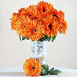 BalsaCircle 28 Orange Silk Gerbera Daisy Flowers - 4 Bushes - Artificial Flowers Wedding Party Centerpieces Arrangements Bouquets
