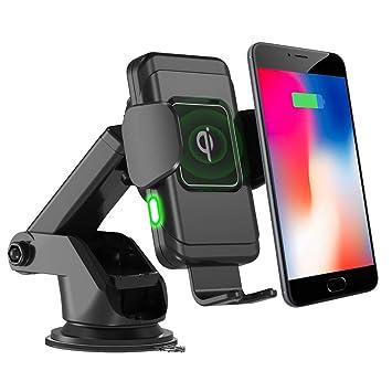 FREESOO Cargador Inalámbrico Coche QI Carga Rápida Cargador de Coche Soporte Móvi Aplicable a Rejillas del Aire para iPhone X/XS/XR/8/8 Plus, Samsung ...
