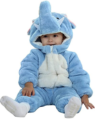 [Baby Toddlers Winter Flannel Rompers Cute Onesies Jumpsuit Party Costume (12-18Months, Elephant)] (Elephant Bunting Costumes)
