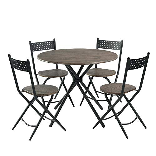 FurnitureR Home Simple Stylish Dining Table and 4 Folding Chairs Set 5Pcs Cross Kitchen Dining Table Chairs Space Saving Dark Brown …