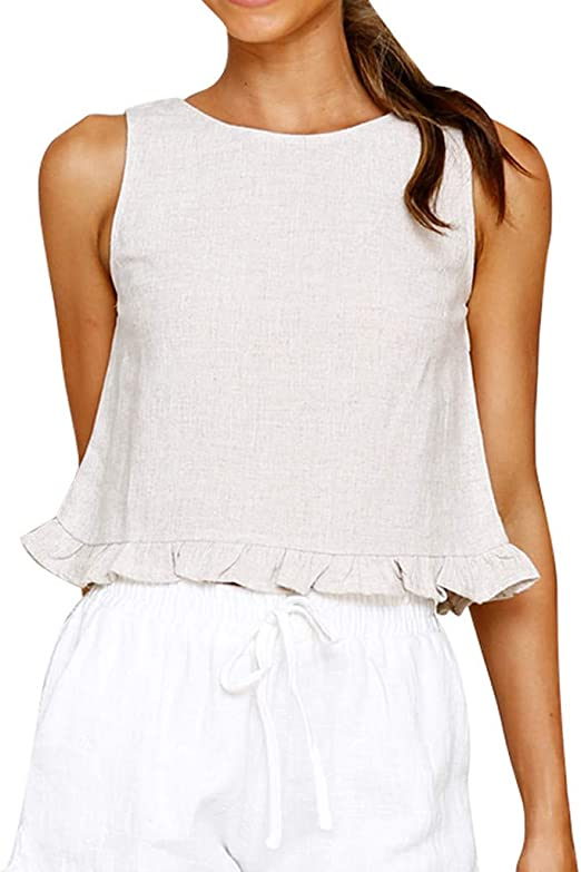 Linen jersey T-shirt Loose fit Sleeveless  Casual style