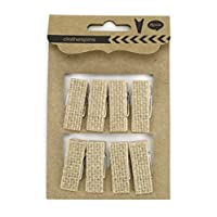 "Kel-Toy Burlap Covered Clothespin, 0.5"" x 1.5"" (8 Pack)"