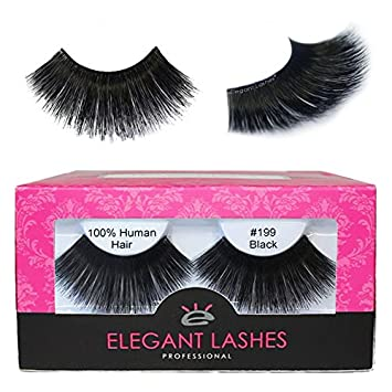 e9a52cf2be1 Amazon.com : Elegant Lashes #199 Black (Pack of 12) | Thick Super ...