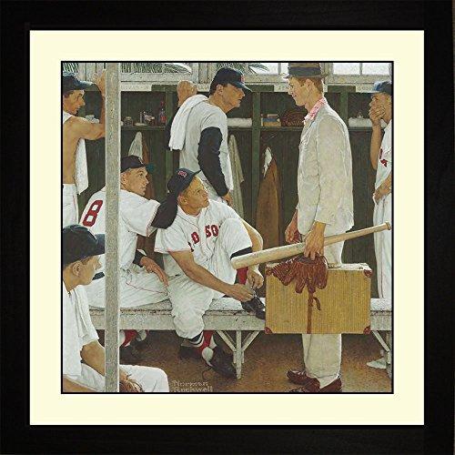 BigOfficeArt Norman Rockwell The Rookie Framed Baseball Wall Hanging Art Gift ()