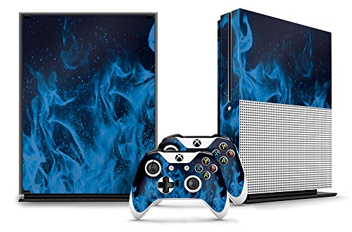 Flame Console - Designer Skin Sticker for the XBOX ONE S Console With Two Wireless Controller Decals - Ice Flame