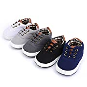 Mjun® Baby Boys Girls Toddlers Canvas Sneakers Lace Up Anti-Slip Outdoor Shoes (6-12 Months, Light Gray)