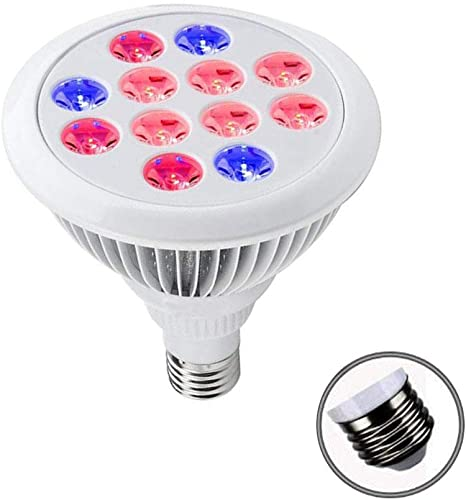 E26 12W Led Grow Light Blub, LED Spectrum Plant Lamps for Indoor Plant Growing Vegetables and Seedlings 9 LED Red 3 LED Blue