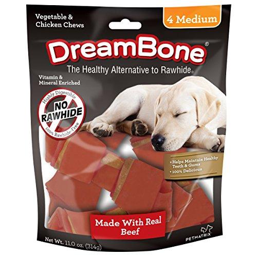 Dreambone Beef Dog Chew, Medium, 4 Pieces/Pack