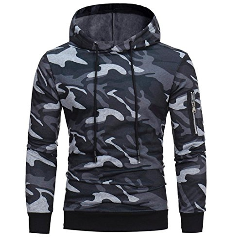 manadlian Veste Homme,Sweats à Capuche Hommes Camouflage Hoodie Sweat à Capuche Tops Veste Manteau Outwear À Manches… 1