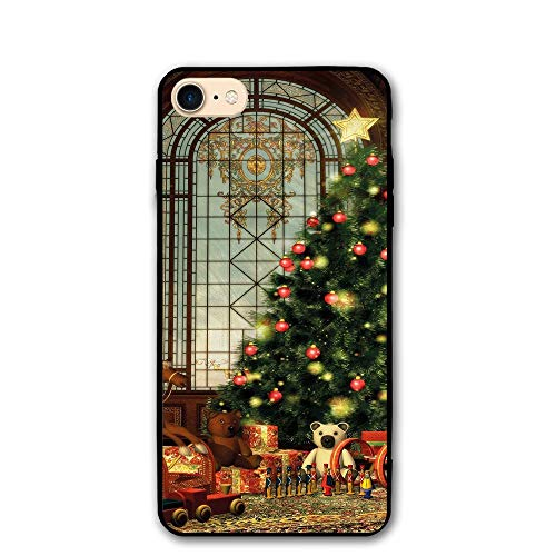 Haixia IPhone 7/8 Case 4.7 Inch Christmas Magical Vintage Ambiance Big Old Fashioned Window Xmas Tree Various Presents Decorative Brown Red Green ()