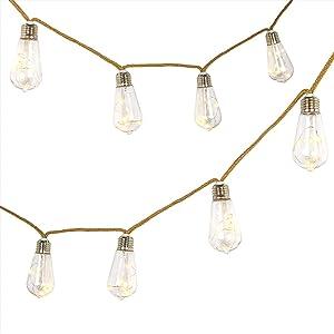 Led String Lights Battery Powered, 7.9ft 10 Led Outdoor String Lights, Jute Rope Olive Shaped Plastic Bulb Indoor Hanging Lights Decor for Bedroom, Kids Room, Dorm, Garden, Patio